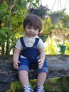 Pronta Entrega - Bebê reborn menino macaquinho jeans 60cm