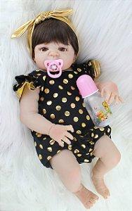 Pronta Entrega - Bebê reborn menina 100% silicone 55cm macacão ouro