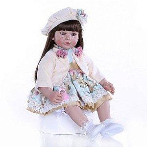 Pronta Entrega - Bebê reborn menina cabelo comprido 60cm