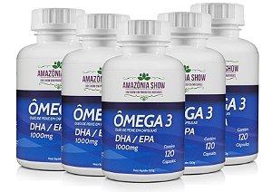 Omega 3 120 Capsulas 1000mg Combo com 5 Frascos