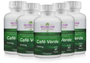 Cafe Verde 60 Capsulas 1000mg Combo com 5 Frascos