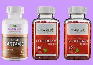 Kit 2 Goji Berry 60 capsulas 1 Oleo de Cartamo 120 capsulas