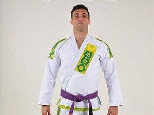 Kimono Jiu Jitsu Oss Masculino Branco/Verde/Amarelo Clássico