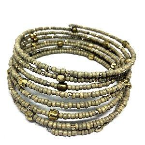Bracelete Memory Bege e Dourado