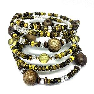 Bracelete Memory Madeira e Amarelo