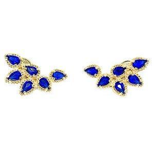 Brinco Ear Cuff Cristal Azul
