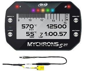 """AIM - Mychron 5 S 2T - Com GPS e sensor Temperatura da Água - NOVO MODELO """"S"""" 2021"""