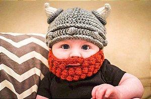 Touca Viking com barba ruiva para newborn prop