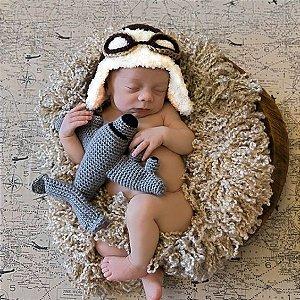 Touca Aviador Com Amigurumi De Aviãozinho - Newborn