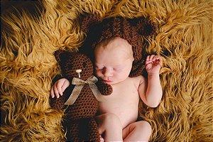 Touca + Amigurumi Urso Marrom com Laço (Newborn)