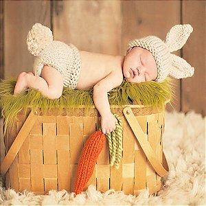 Conjunto Coelho com opção de Cenoura de Amigurumi newborn