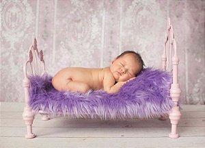 Manta para Newborn Pêlo Longo - Cor Lavanda