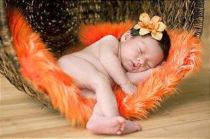 Manta para Newborn Pêlo Longo - Cor Laranja