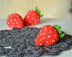 Morango Amigurumi Em Croche - 3d Mini Monrangos Decoração Newborn