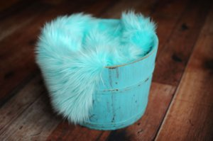 Manta para Newborn Pêlo Longo - Cor Azul Piscina