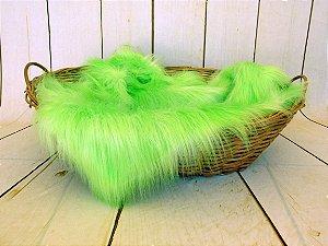 Manta para Newborn Pêlo Longo - Cor Verde Limão