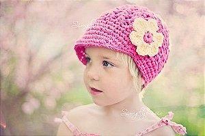 Touca Boina De Croche Flor - Infantil A Adulto - Chapeu Cap