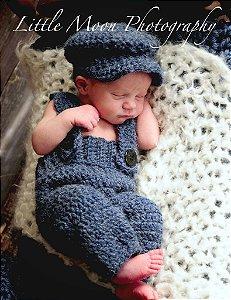 Newborn conjunto Menino Jornaleiro  (Macacão + chapeu) - em crochê
