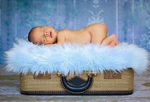 Manta para Newborn Pêlo Longo - Cor Azul Bebê