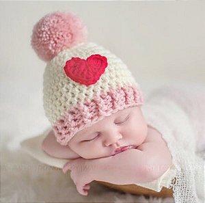 Touca Coração Em Crochê  Gorro Newborn Para Bebês Fotografia