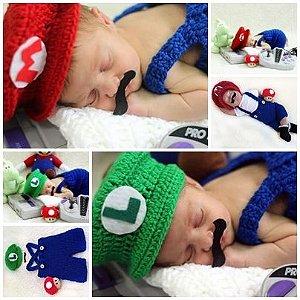 Conjunto Newborn Mario Ou Luigi Em Crochê  - Game Cosplay Bebê