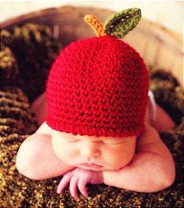 Touca De Maça Em Crochê - Newborn Fotografia De Bebês Props