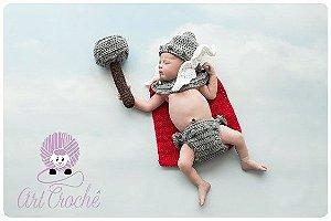 Conjunto Thor Em Crochê - Newborn Os Vingadores Bebê Props
