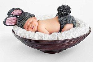 Conjunto Newborn Coelhinho Cinza -  Prop Coelho bebê