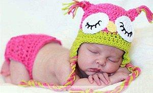 Conjunto Newborn Corujinha Rosa -  Prop Coruja bebê