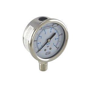 Manômetro Para Medir Pressão Da Água 7kg 100 Psi Zyia