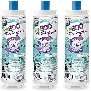 Kit Com 3 Refil Filtro PB600 p/ purificador de água Newmaq, Newup, Masterfrio Rótula Branco ( compatível )
