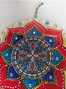 Mandala Vidro Vitral Vermelha