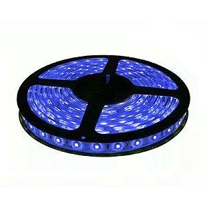 Fita de Led Azul com Silicone 300 Leds SMD 3528 12V Rolo de 5 Metros