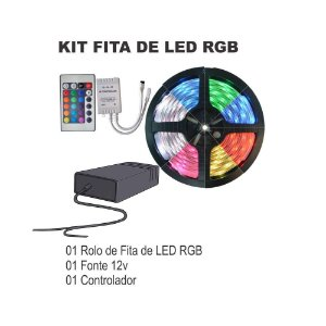 Kit Fita De Led Rgb De 5 Metros + Controle 24 Teclas + Fonte 12V Smd5050 300