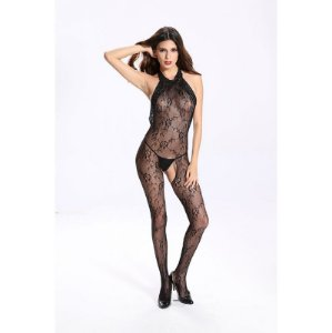 Macacão Bodystocking Decorado com Renda