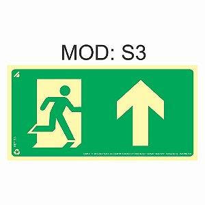Placa Fotoluminescente S3 12x24cm Saída de Emergência à Frente Orientação de Salvamento e Segurança Rota de Fuga Imprefix