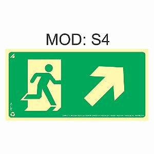 Placa Fotoluminescente S4 12x24cm Saída de Emergência Sobe a Direita Orientação de Salvamento e Segurança Rota de Fuga Imprefix