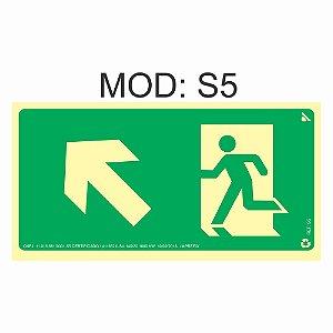 Placa Fotoluminescente S5 12x24cm Saída de Emergência Sobe a Esquerda Orientação de Salvamento e Segurança Rota de Fuga Imprefix
