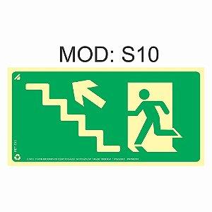 Placa Fotoluminescente S10 12x24cm Saída de Emergência Sobe a Escada a Esquerda Orientação de Salvamento e Segurança Rota de Fuga Imprefix