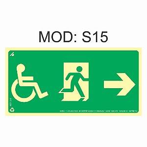 Placa Fotoluminescente S15 12x24cm Sinalização Cadeirante Saída de Emergência à Direita Orientação de Salvamento e Segurança Rota de Fuga Imprefix