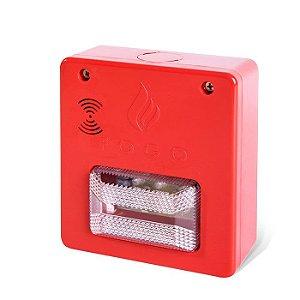Sinalizador sonoro visual para alarme convencional de incêndio Tecnohold