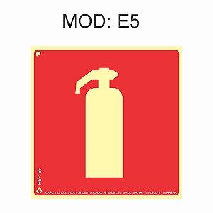 Placa Fotoluminescente E5 20x20cm Extintor Sinalização para Equipamentos Imprefix