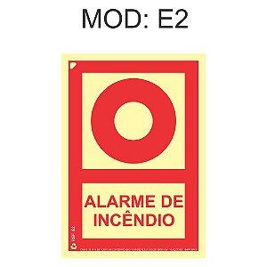 Placa Fotoluminescente E2 15x20cm Alarme de Incêndio Sinalização para Equipamentos Imprefix