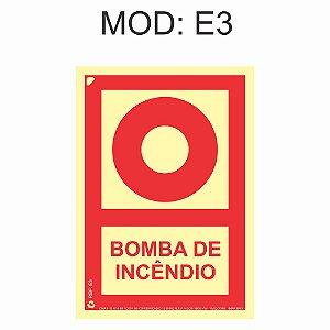 Placa Fotoluminescente E3 15x20cm Bomba de Incêndio Sinalização para Equipamentos Imprefix