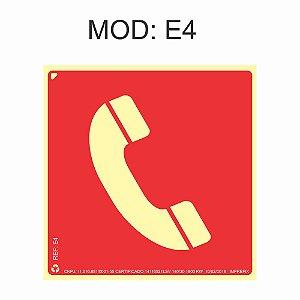 Placa Fotoluminescente E4 20x20cm identificação de Telefone de emergência Sinalização para Equipamentos Imprefix