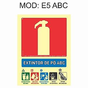 Placa Fotoluminescente E5 15x20cm Extintor Pó ABC Sinalização para Equipamentos Imprefix