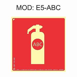 Placa Fotoluminescente E5 ABC 20x20cm Extintor Pó ABC Sinalização para Equipamentos Imprefix