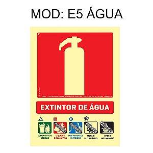 Placa Fotoluminescente E5 15x20cm Extintor Água pressurizada Sinalização para Equipamentos Imprefix