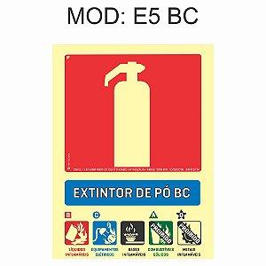 Placa Fotoluminescente E5 BC 15x20cm Extintor Po BC Sinalização para Equipamentos Imprefix