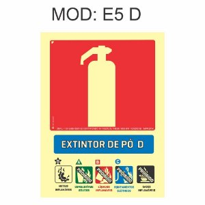 Placa Fotoluminescente E5 Pó D 15x20cm Extintor  Pó D Sinalização para Equipamentos Imprefix